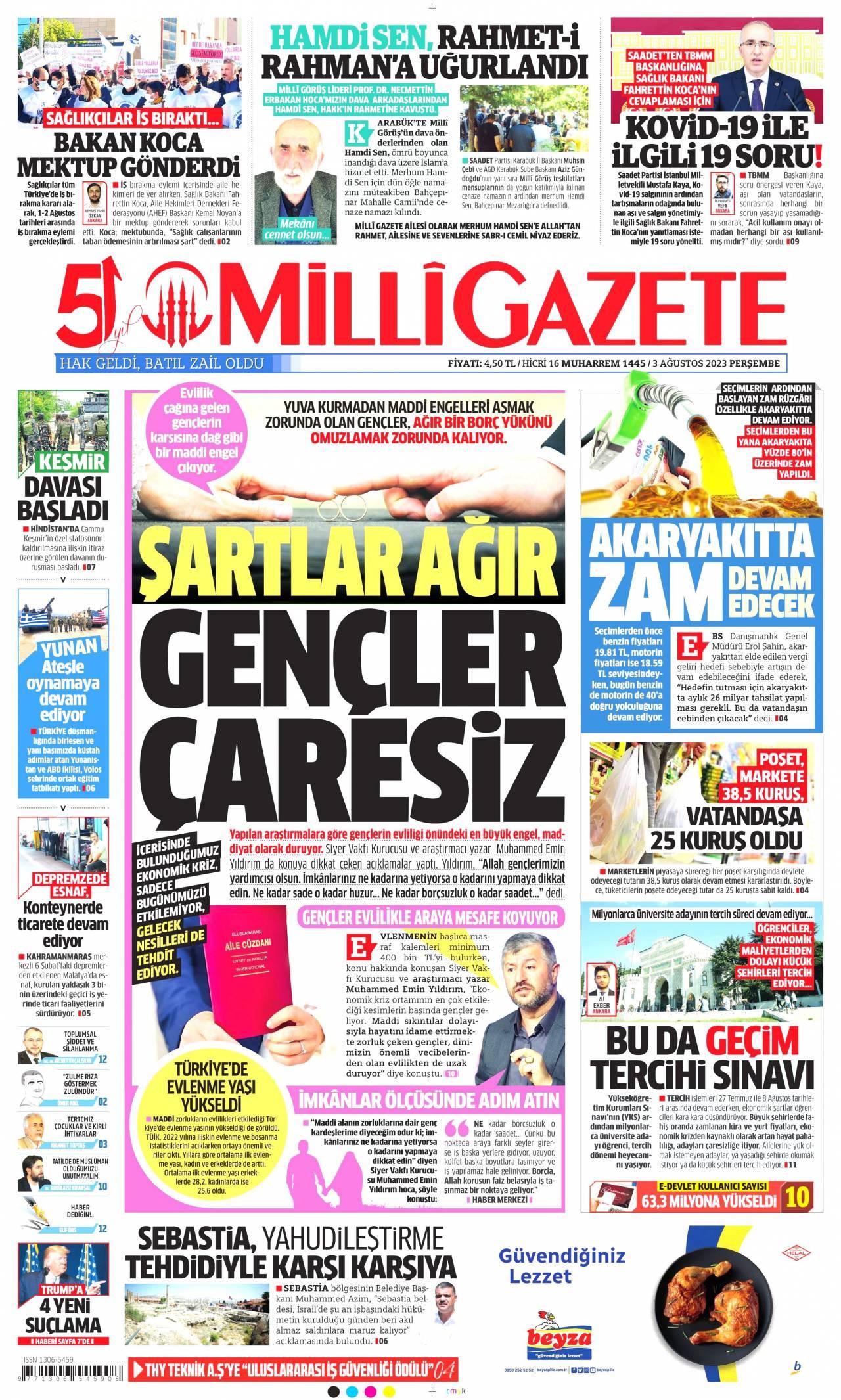23 Ağustos 2019, Cuma milligazete Gazetesi