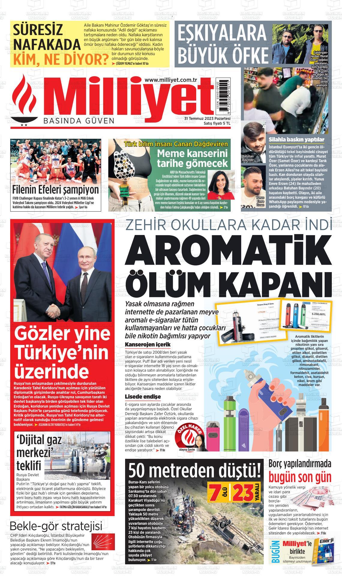 12 Ağustos 2020, Çarşamba milliyet Gazetesi