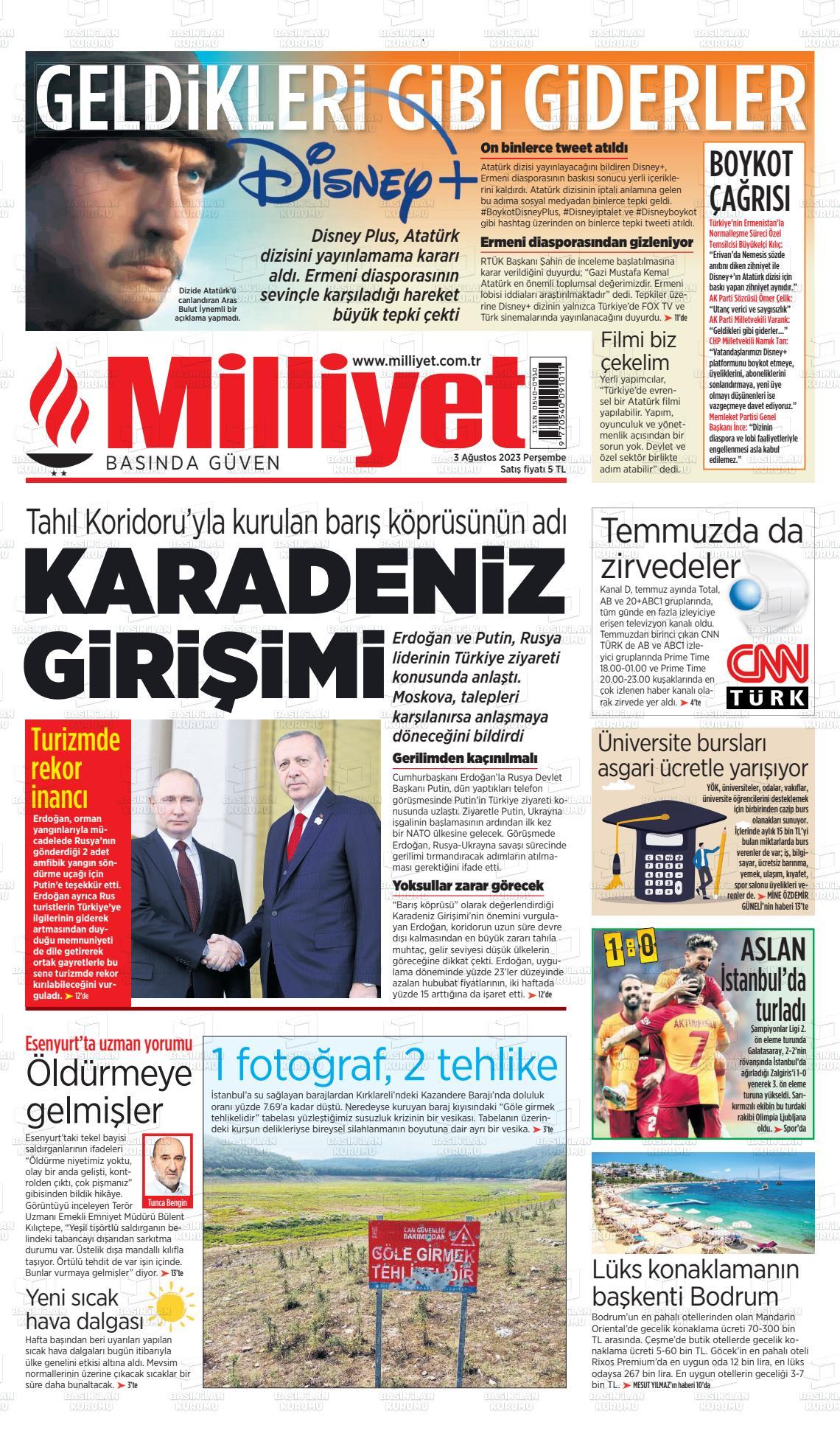 19 Şubat 2020, Çarşamba milliyet Gazetesi