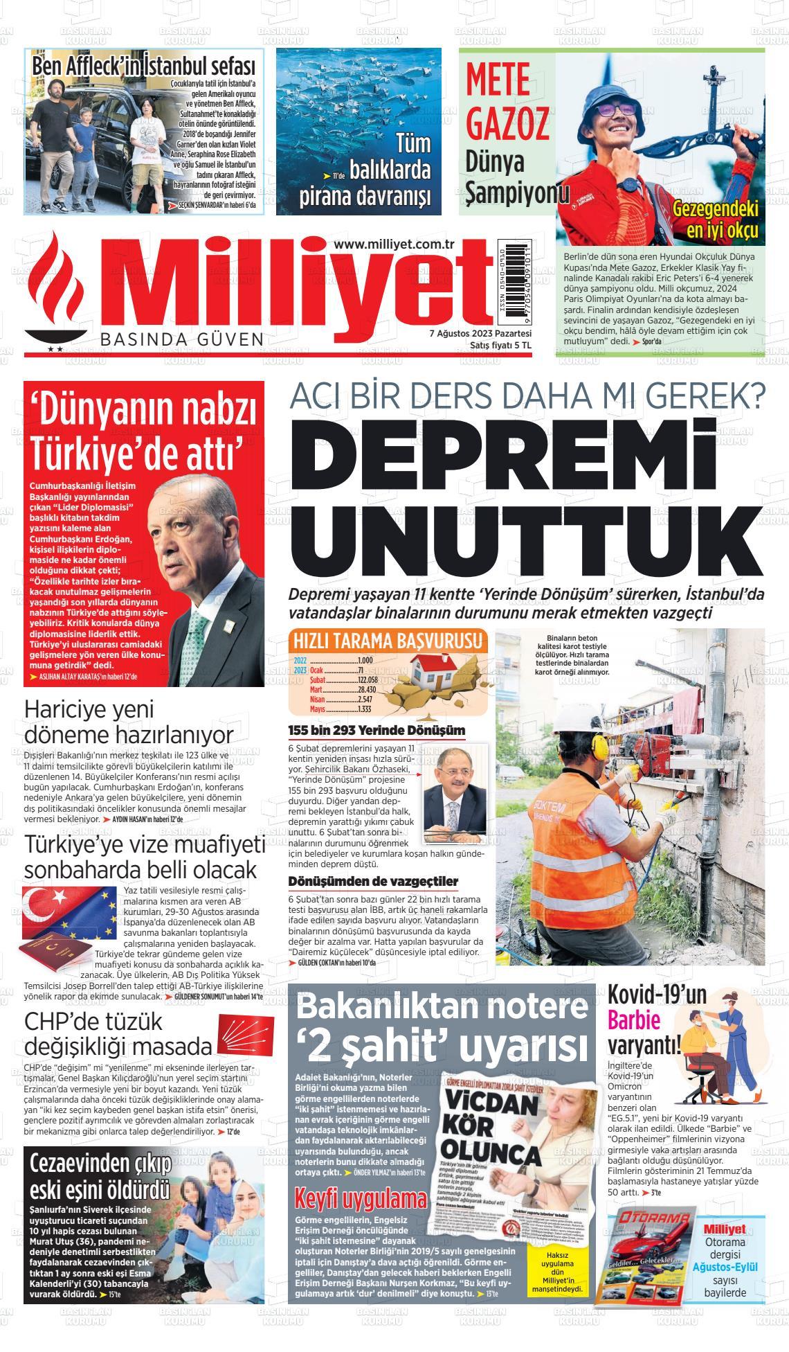 19 Haziran 2019, Çarşamba milliyet Gazetesi