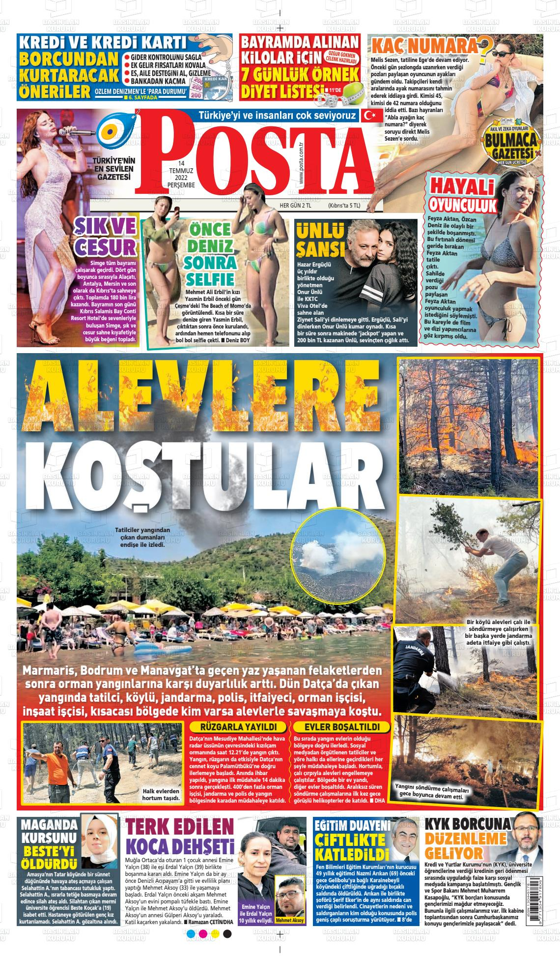 25.10.2020 tarihli Posta gazetesinin 1. sayfası