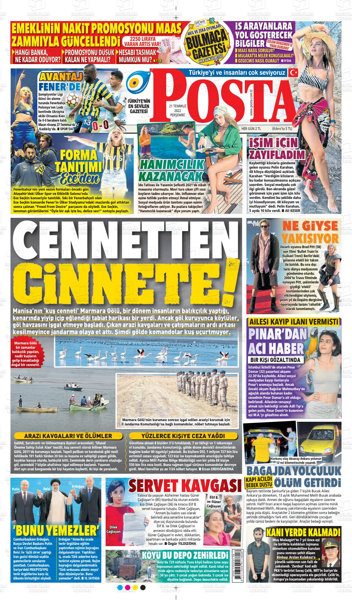 18 Eylül 2020, Cuma posta Gazetesi