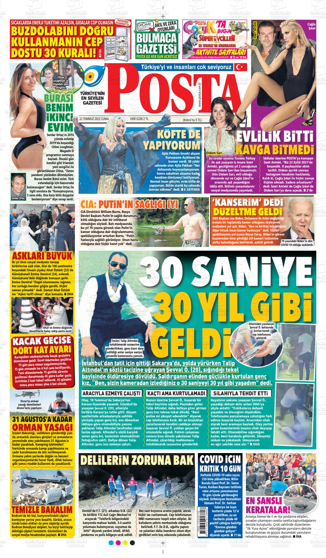 25 Ocak 2020, Cumartesi posta Gazetesi