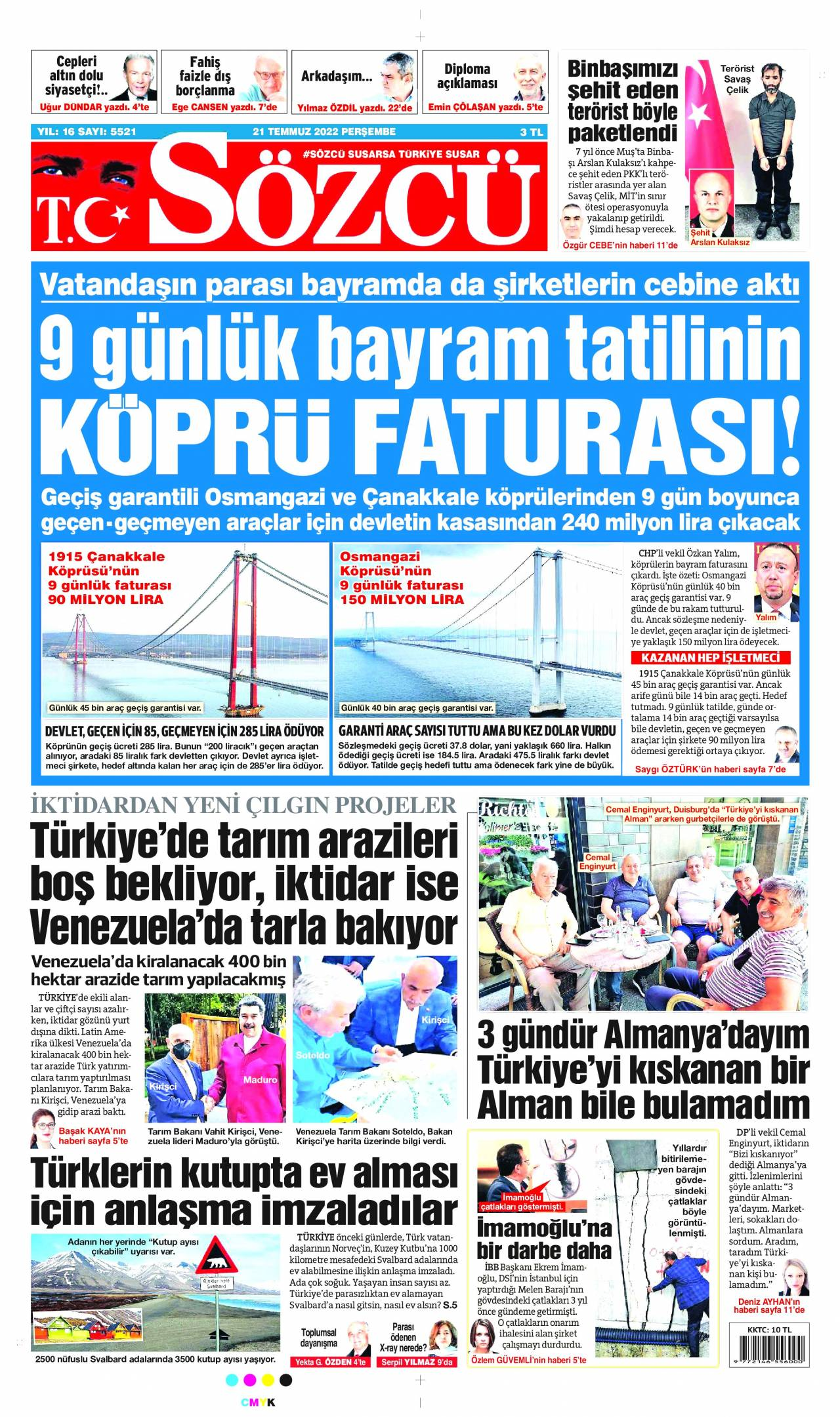 1 Haziran 2020, Pazartesi sozcu Gazetesi