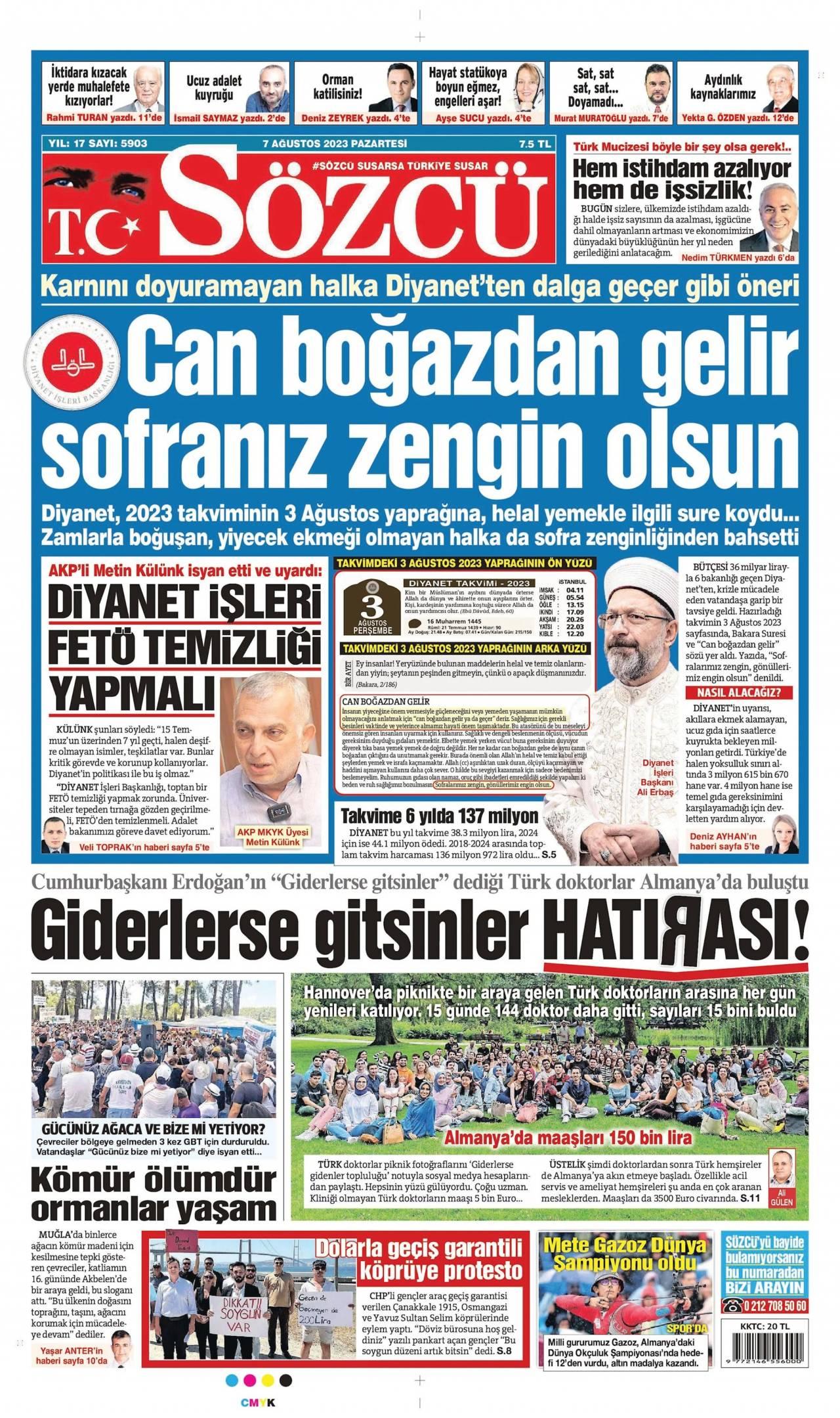 23 Şubat 2020, Pazar sozcu Gazetesi