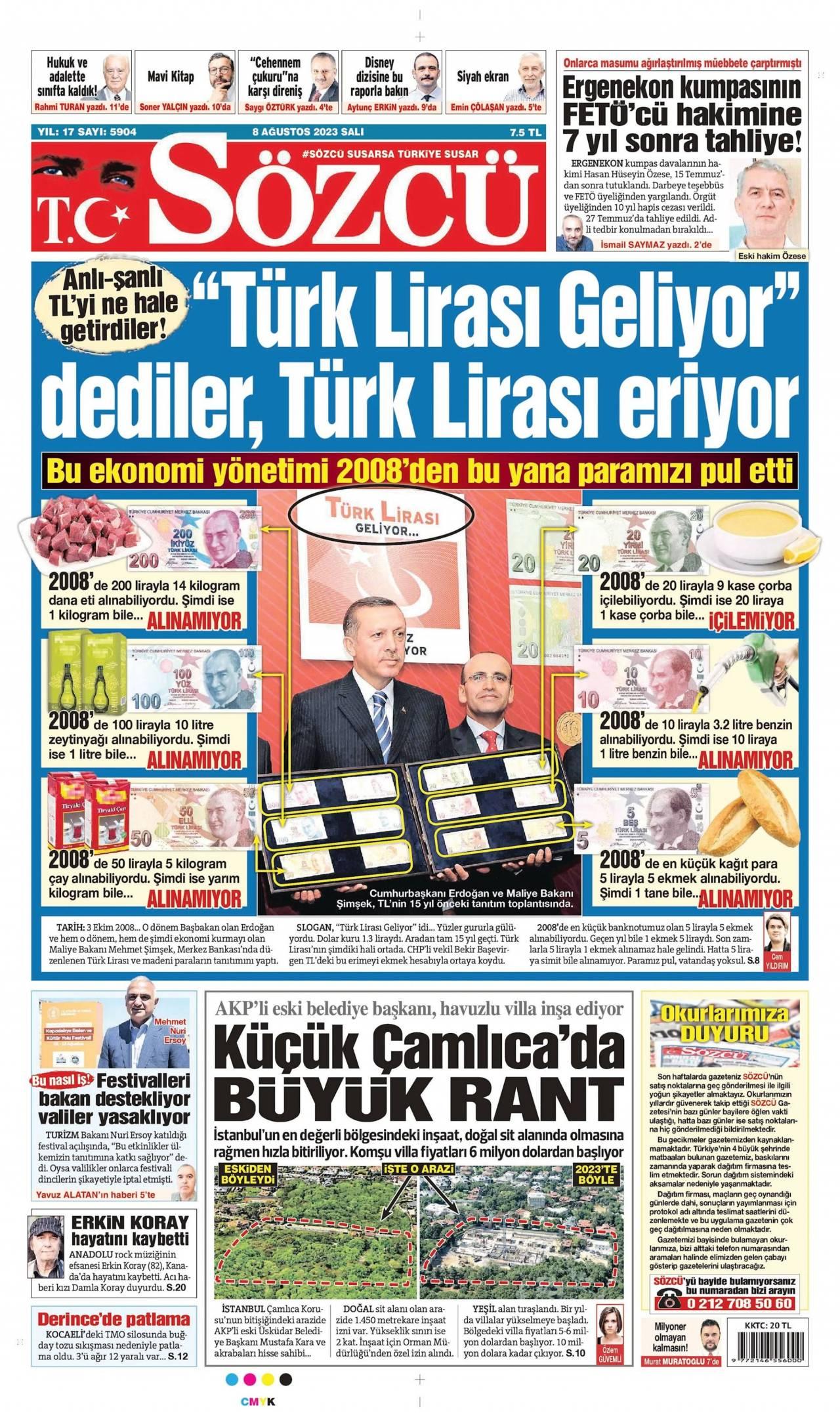 20 Mayıs 2019, Pazartesi sozcu Gazetesi
