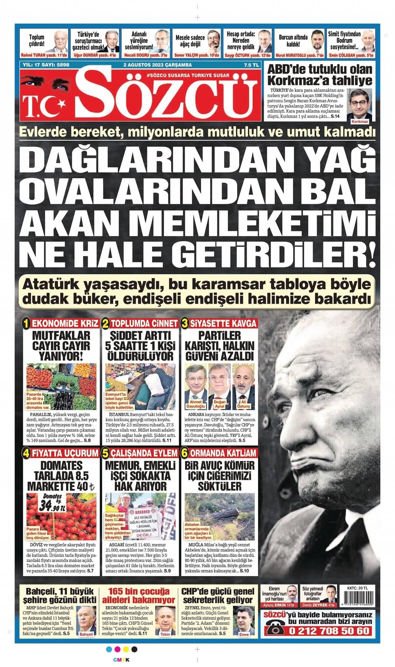 5 Ağustos 2020, Çarşamba sozcu Gazetesi