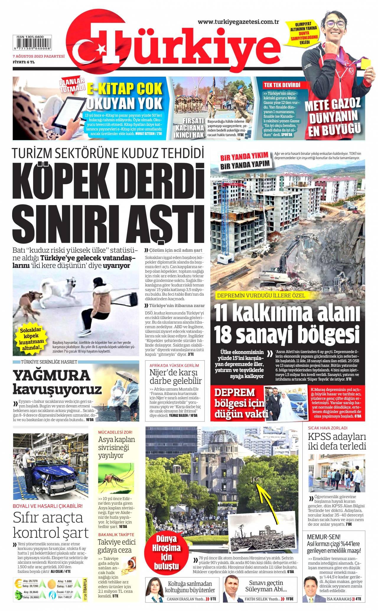 12 Ağustos 2020, Çarşamba turkiye Gazetesi