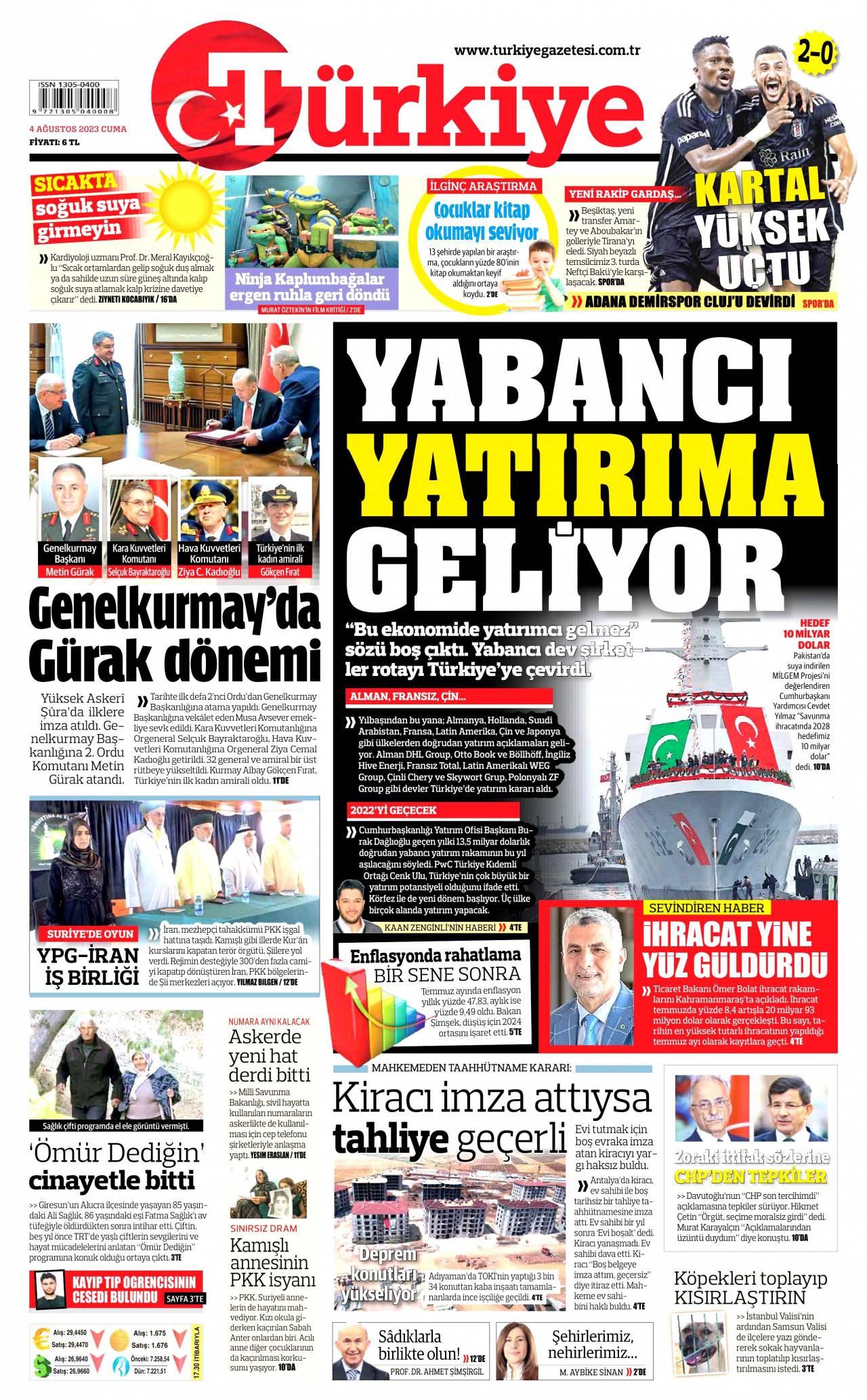 18 Eylül 2020, Cuma turkiye Gazetesi