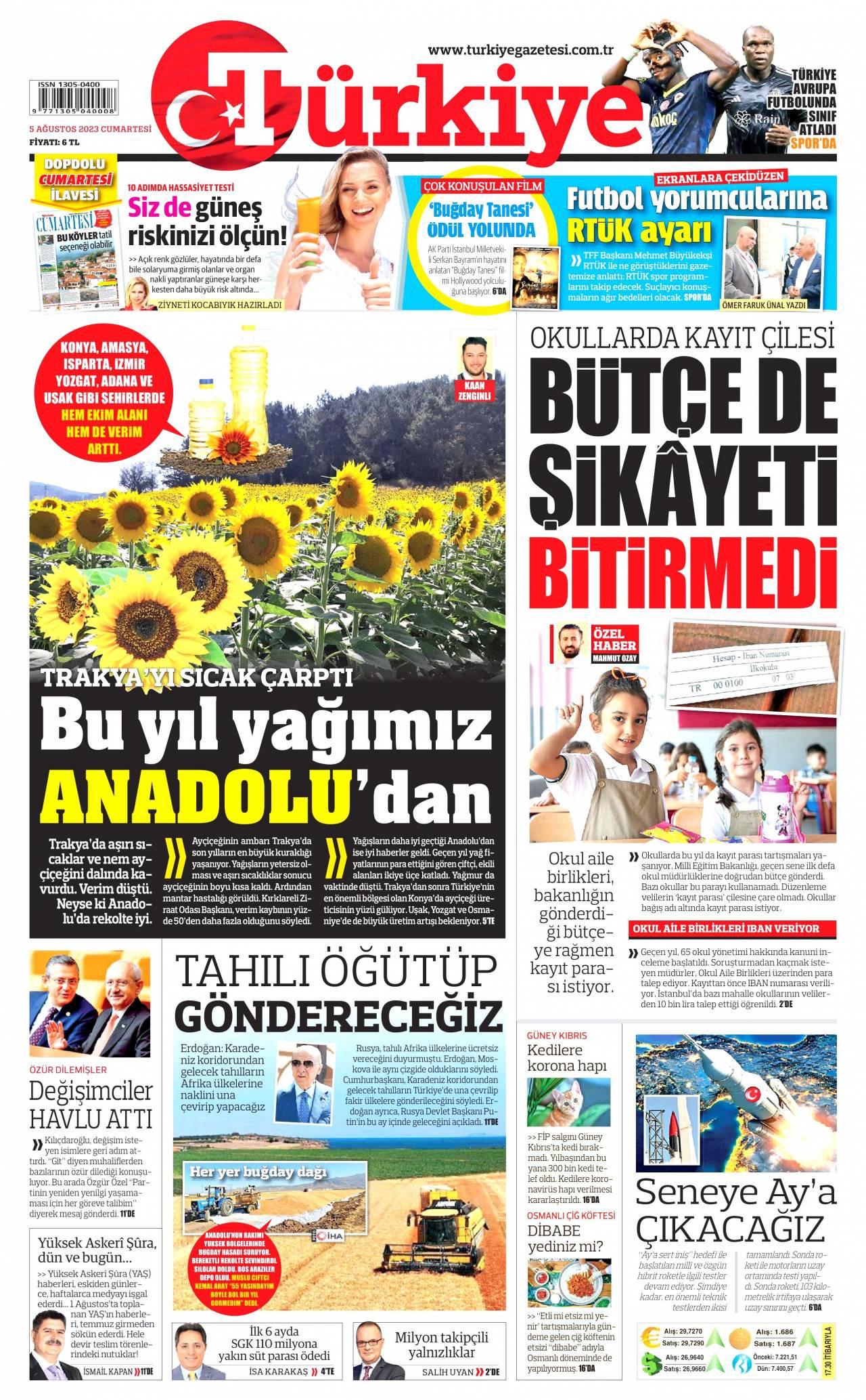 25 Ocak 2020, Cumartesi turkiye Gazetesi