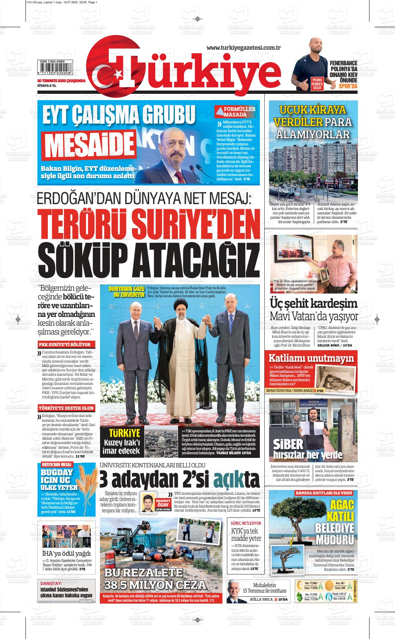 21 Eylül 2019, Cumartesi turkiye Gazetesi