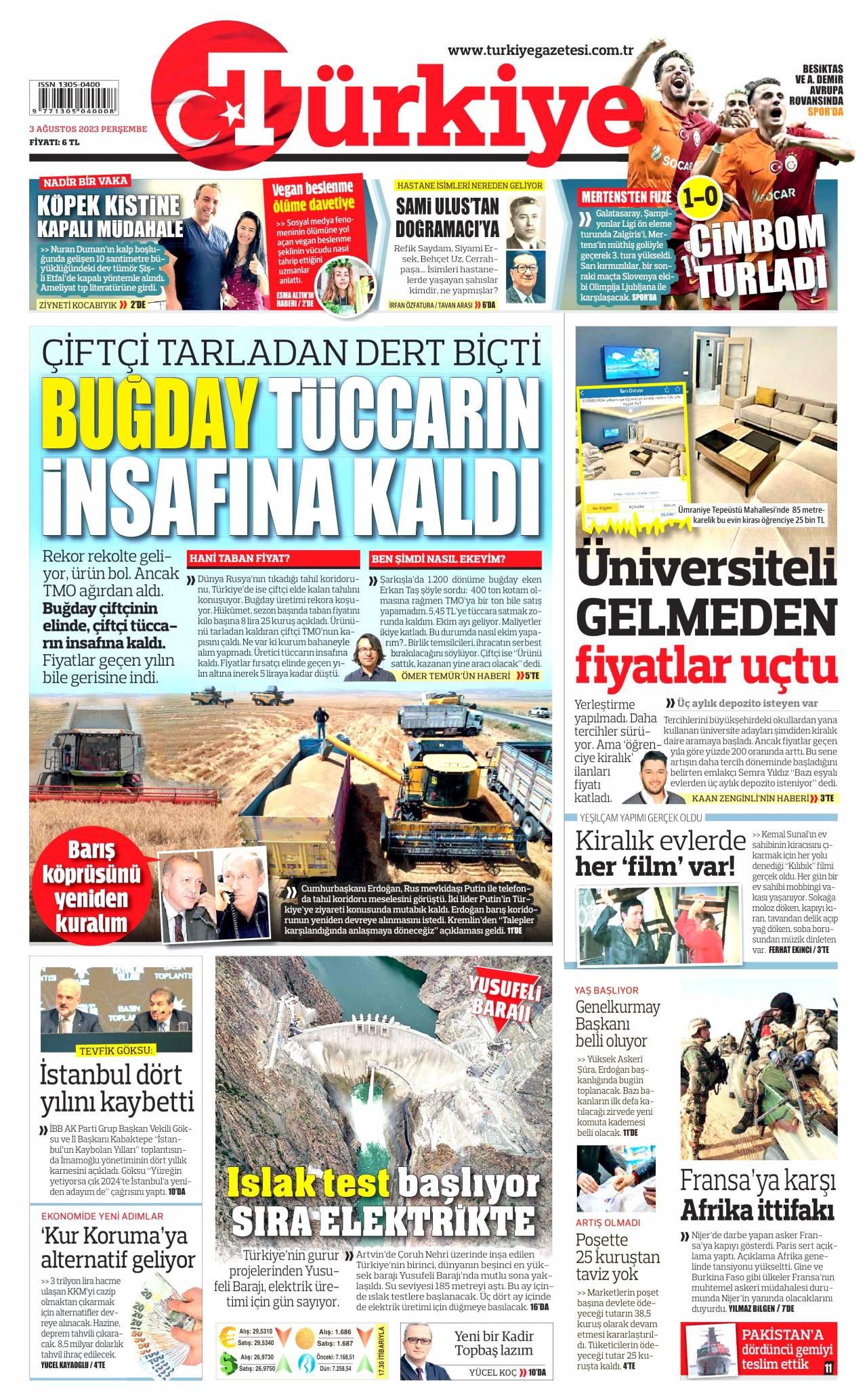 27 Ocak 2021, Çarşamba turkiye Gazetesi