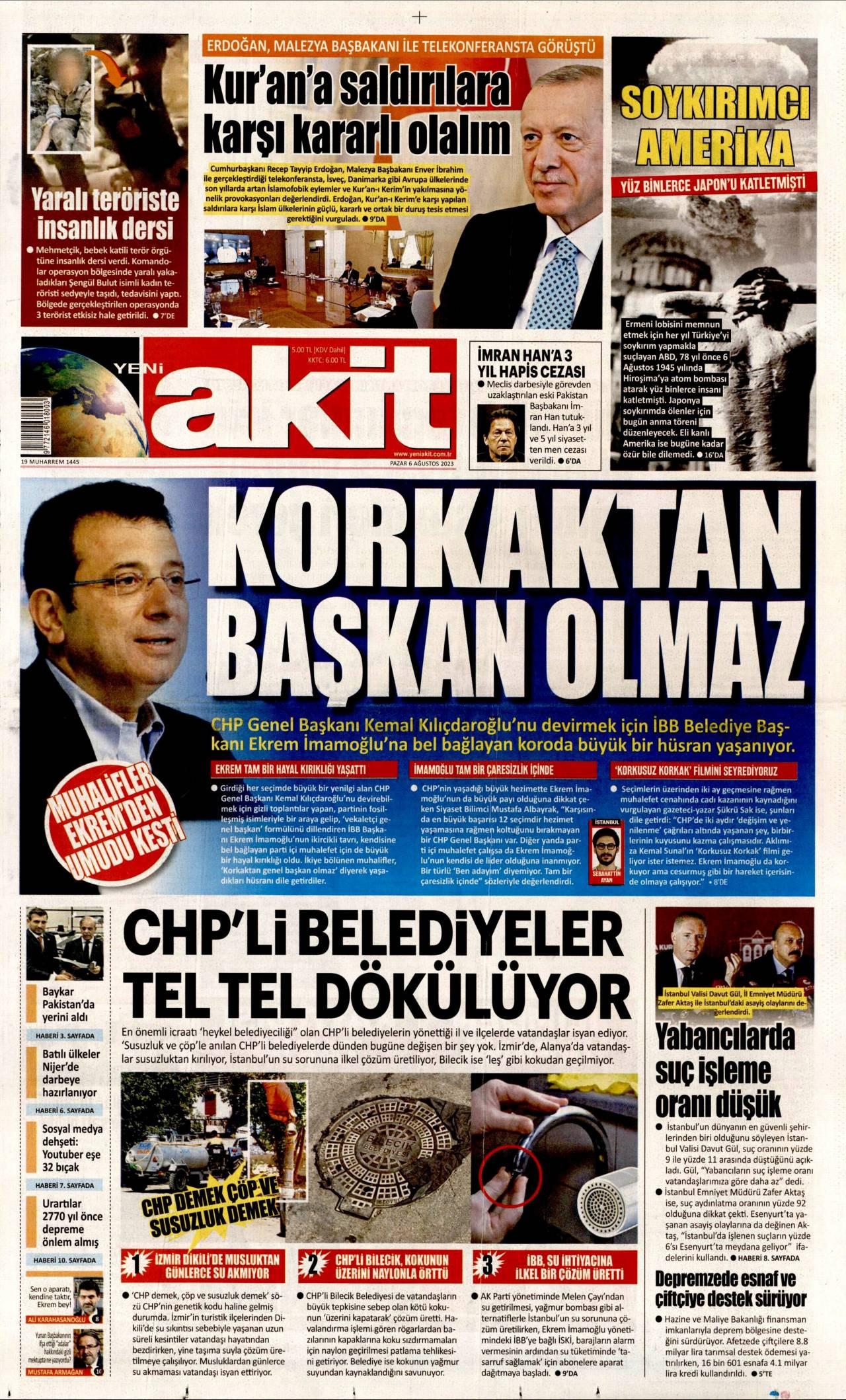 31.10.2020 tarihli Yeni Akit gazetesinin 1. sayfası