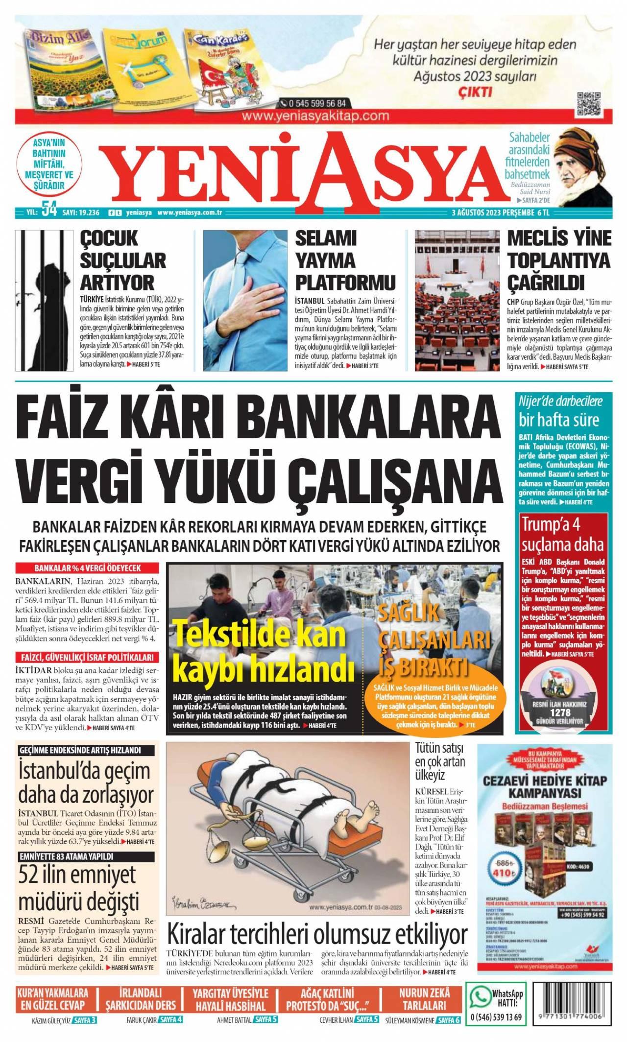27.10.2020 tarihli Yeni Asya gazetesinin 1. sayfası