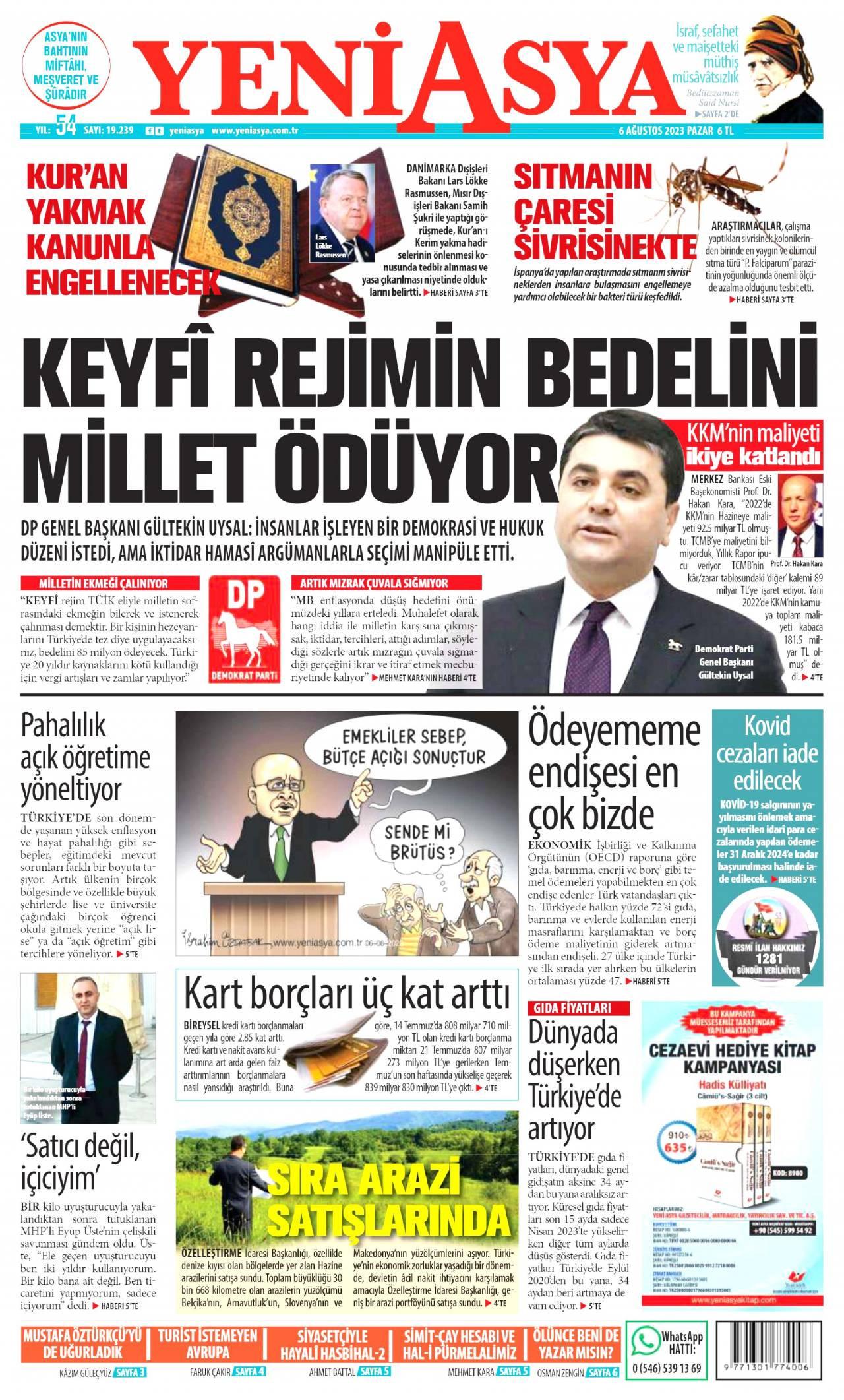 19 Eylül 2019, Perşembe yeniasya Gazetesi