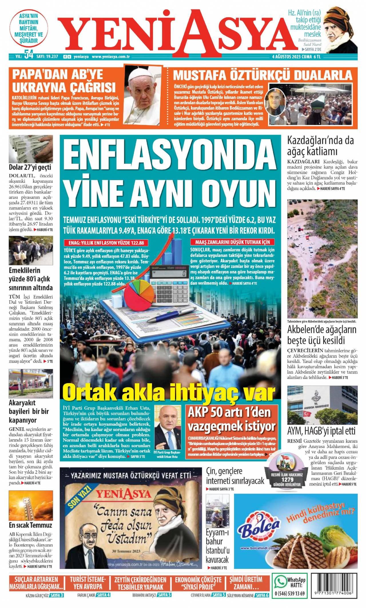 18 Eylül 2020, Cuma yeniasya Gazetesi