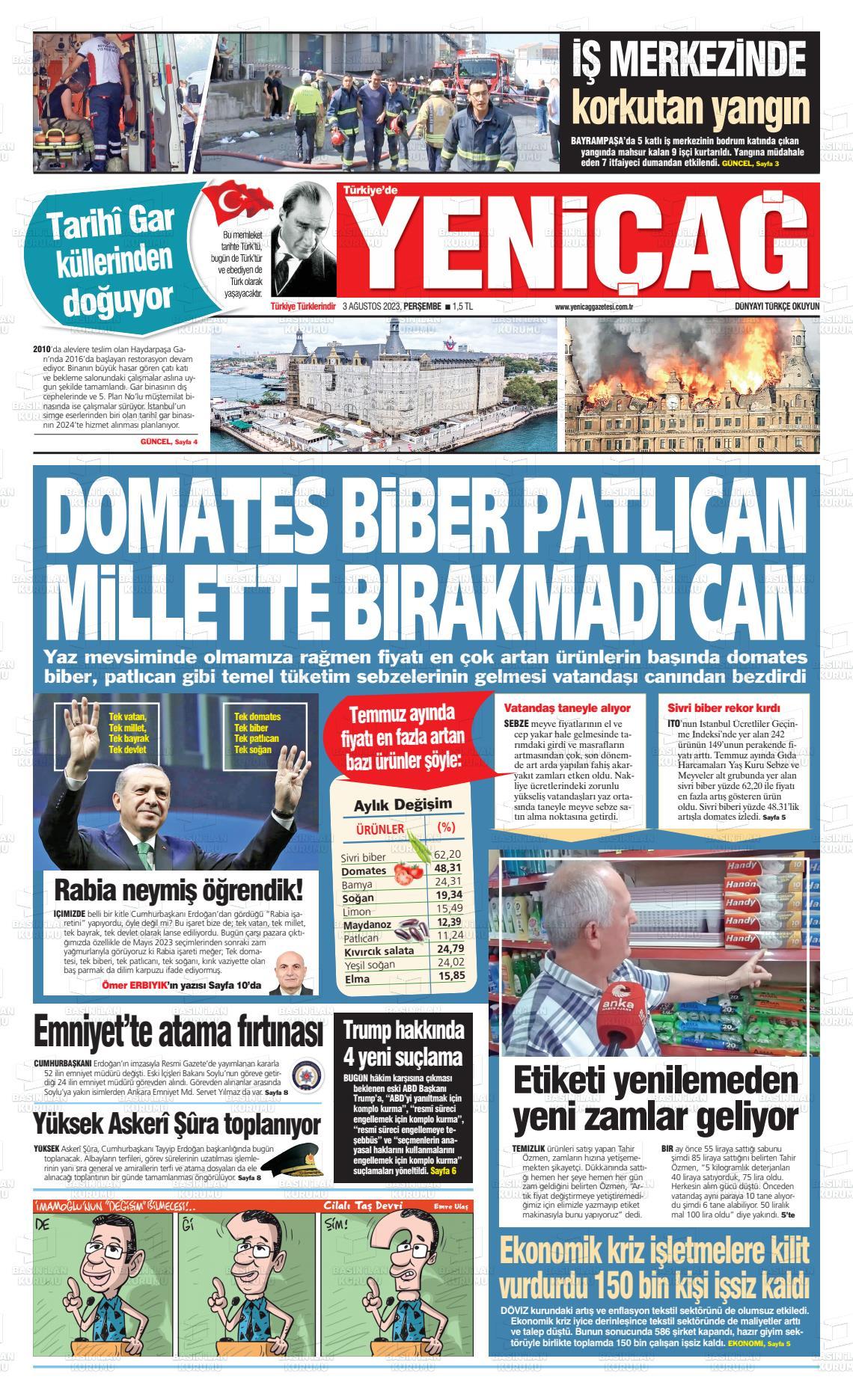 18.10.2017 tarihli Yeni Çağ gazetesinin 1. sayfası