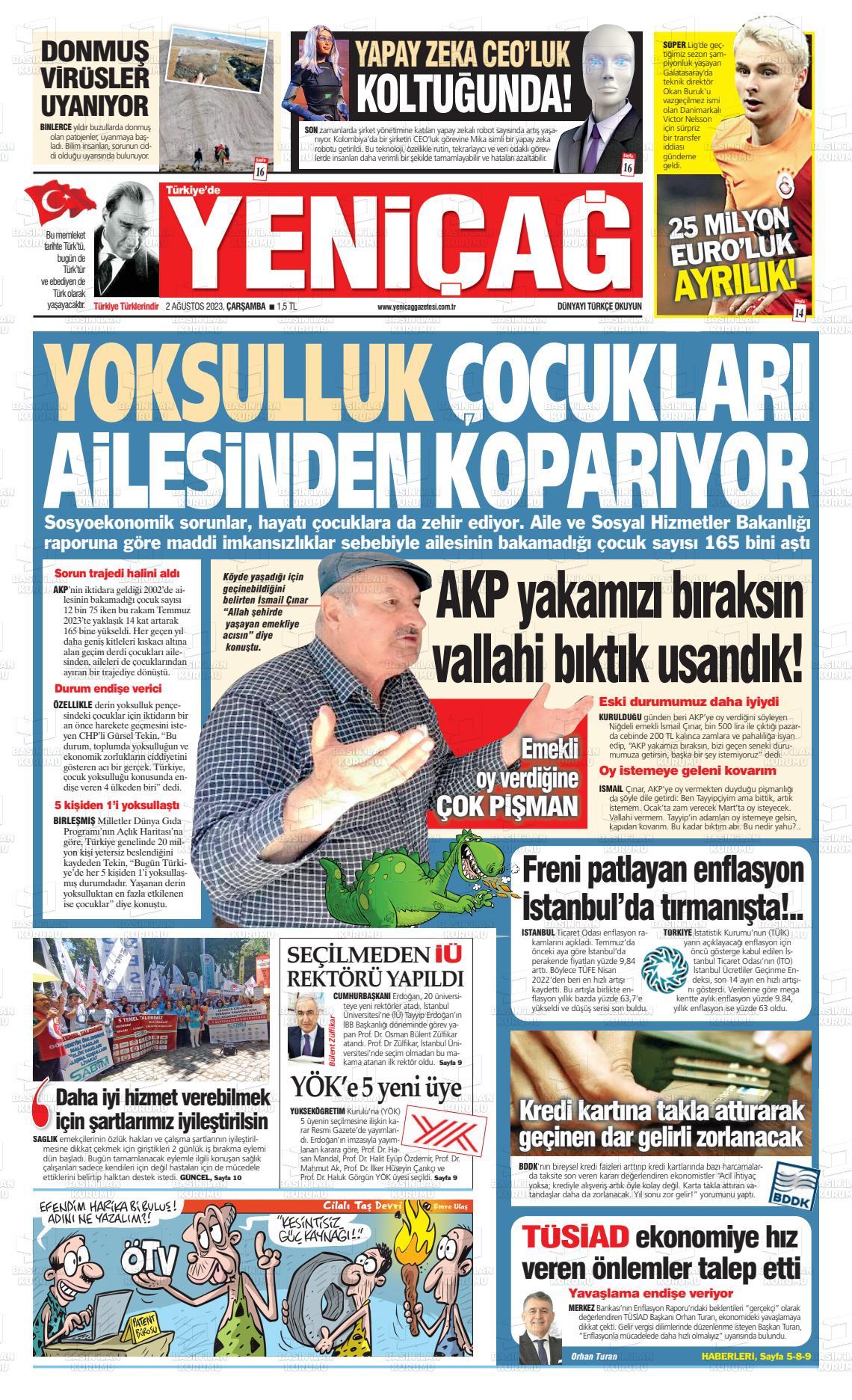 19 Eylül 2019, Perşembe yenicag Gazetesi