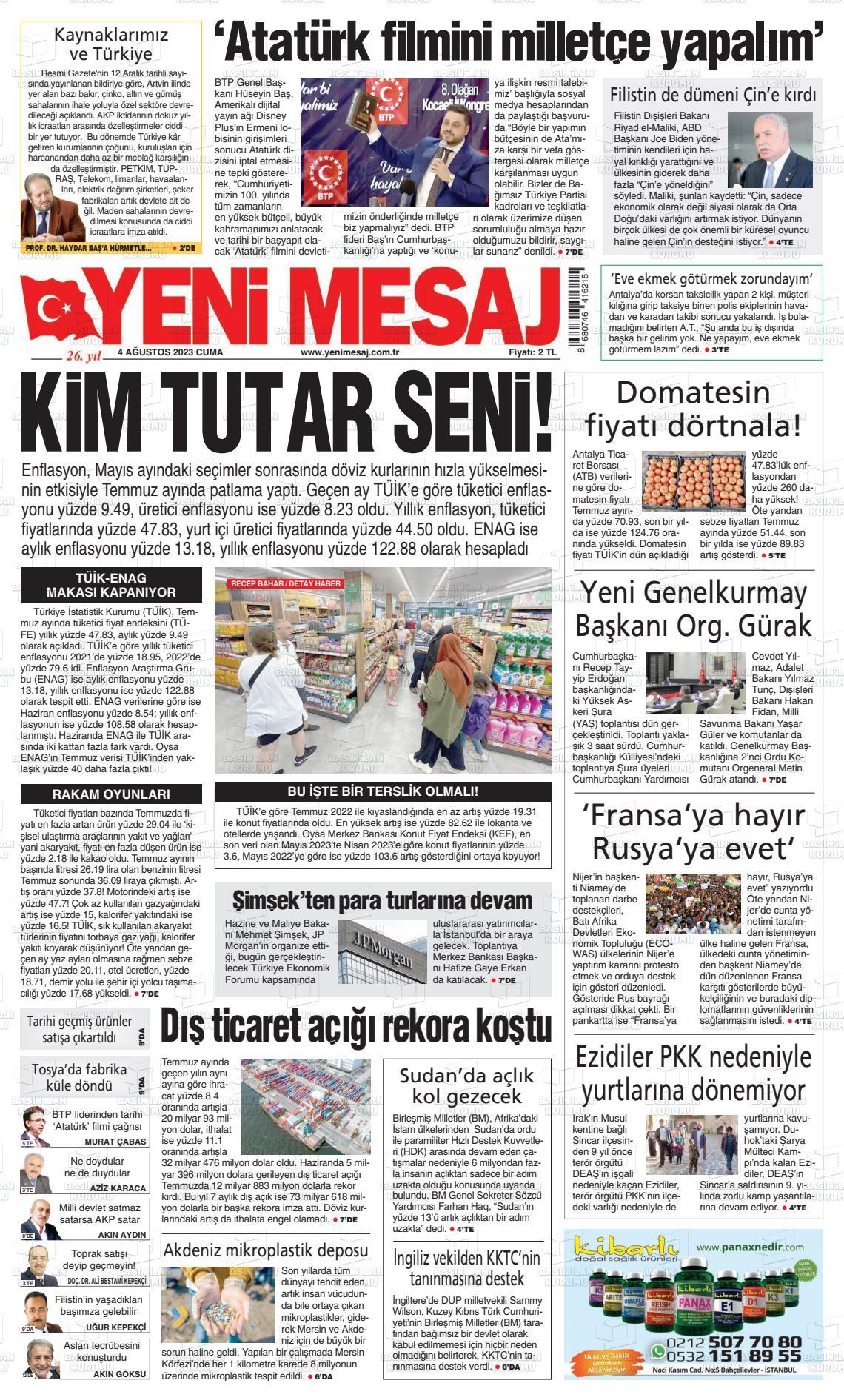 11.12.2017 tarihli Yeni Mesaj gazetesinin 1. sayfası