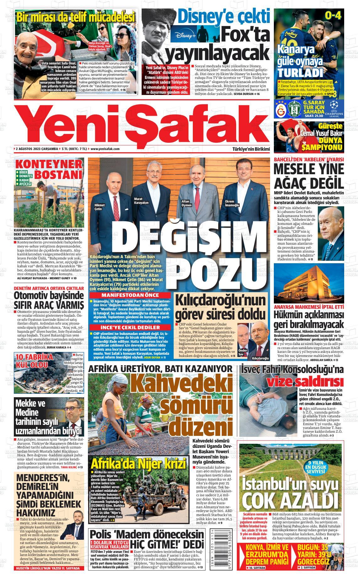 23.04.2021 tarihli Yeni Şafak gazetesinin 1. sayfası
