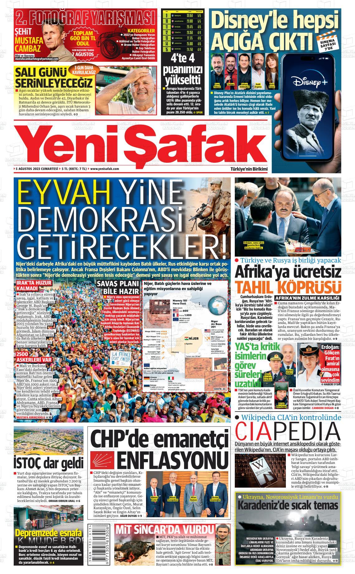 12 Ağustos 2020, Çarşamba yenisafak Gazetesi
