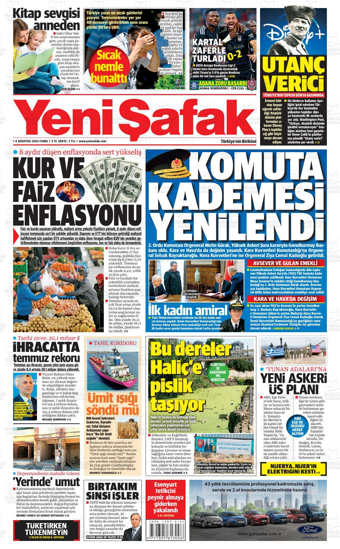16 Eylül 2019, Pazartesi yenisafak Gazetesi