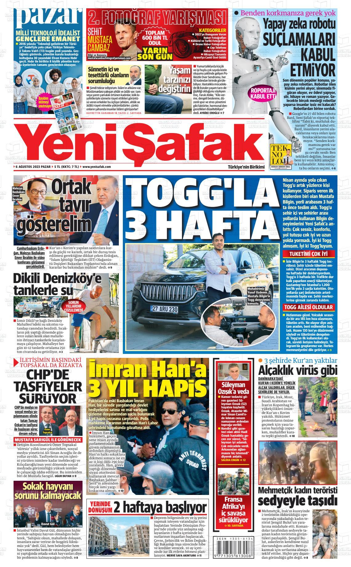 23 Eylül 2020, Çarşamba yenisafak Gazetesi